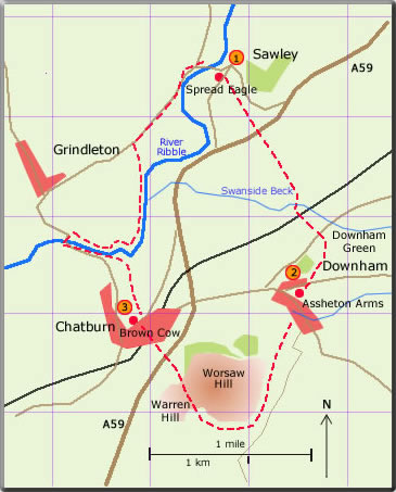 map walk Sawley Downham Chatburn