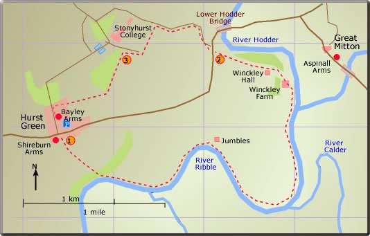 map walk Hurst Green Stonyhurst